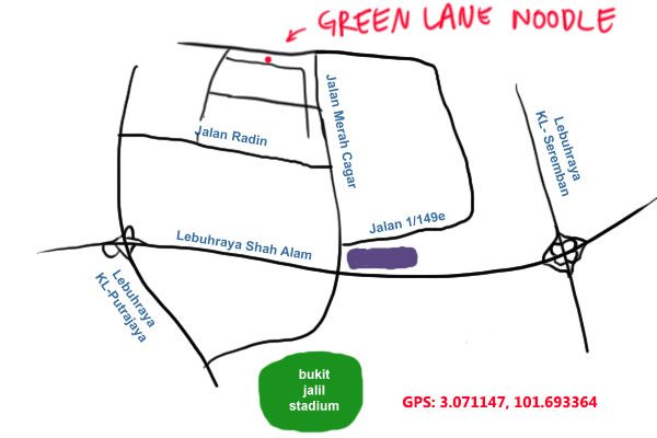 map to Green Lane Noodle, Sri Petaling