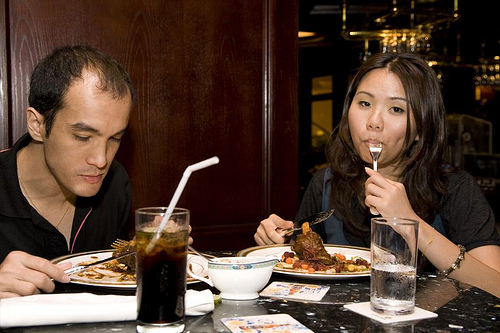 Christian from KL Lifestyle and Celine enjoying their lamb shank