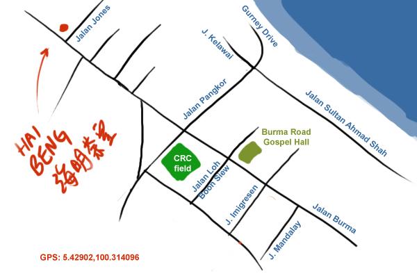 map of hai beng kopitiam, Jalan Burma, Penang
