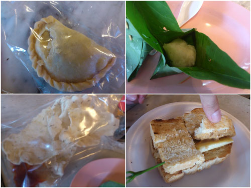 curry puff, tapai, prawn crackers, toast with banana and peanut butter