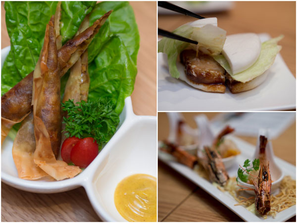 curry cheese haru maki, pork bun, spicy shrimp mayo