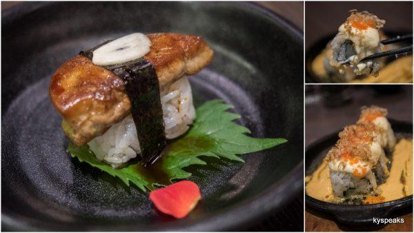 foie gras sushi, hotate maki spicy sauce