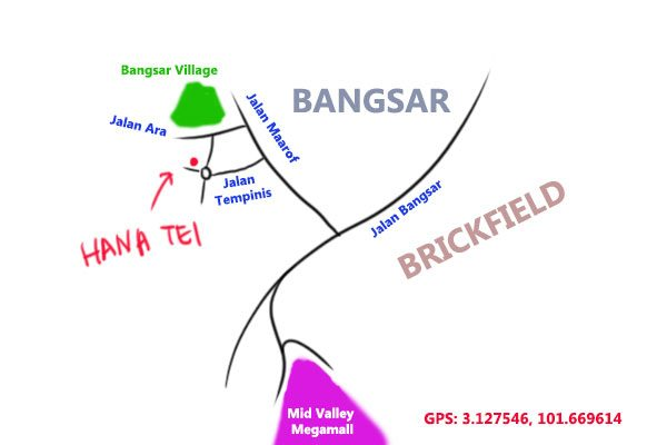 map to Hana Tei Japanese Restaurant, Bangsar