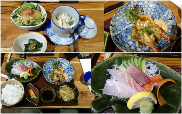 combination set - sashimi and kakiage prawns