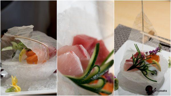 sashimi on crushed ice