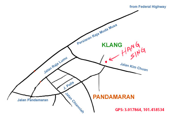 map to hang sing seafood restaurant, pandamaran