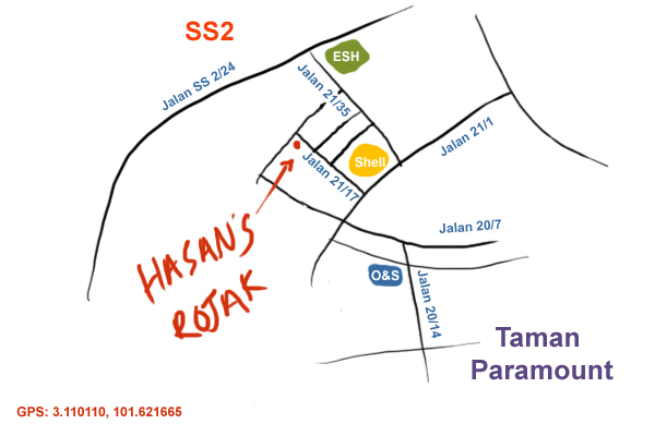 map to hasan's rojak, seapark
