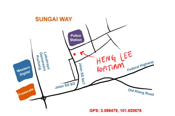 map to Heng Lee kopitiam, Sungai Way