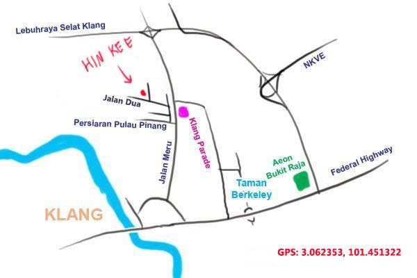 map to Hin Kee, Klang
