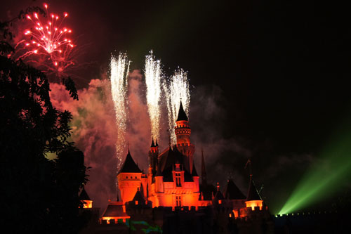the fireworks at Sleeping Beauty's castle
