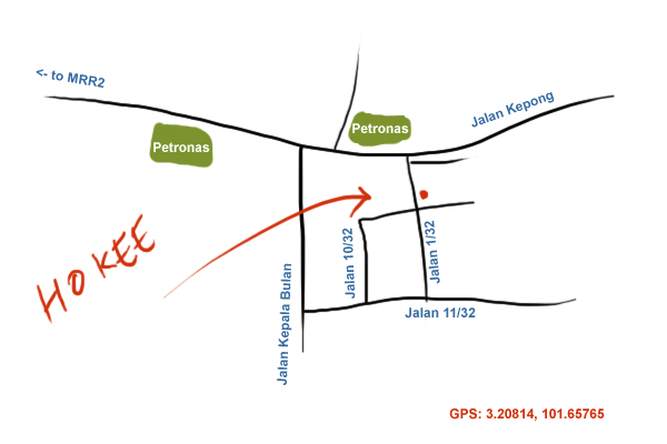 map to Ho Kee seafood restaurant at Jingjang