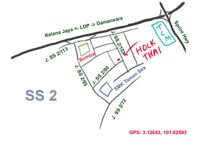 map to Hock Thai restaurant, not far behind SS 2 Bomba