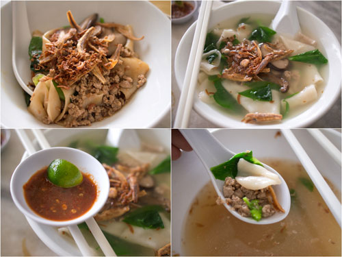 dry and normal soup version of pan mee, with hand made noodle