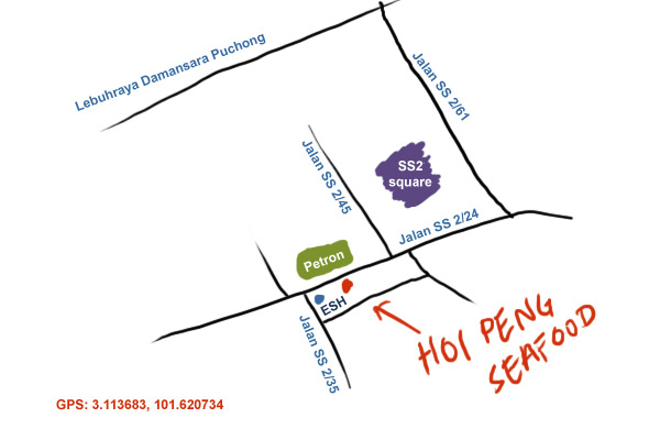 map to Hoi Penag seafood restaurant, SS2