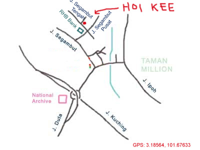 map to Hoi Kee at Segambut