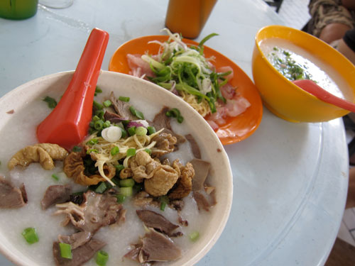 pork intestine porridge & raw fish porridge