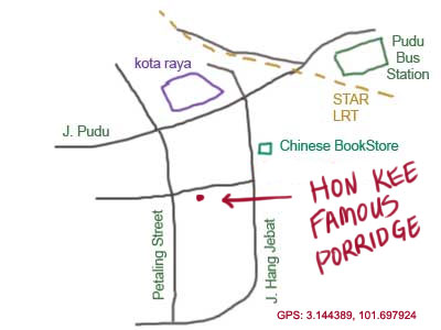 map to Hon Kee Famous Porridge, Petaling Street (Chinatown)
