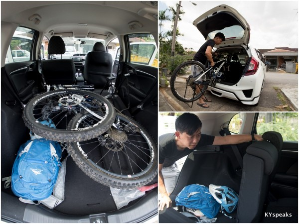 packing up my mountain bike in Honda Jazz