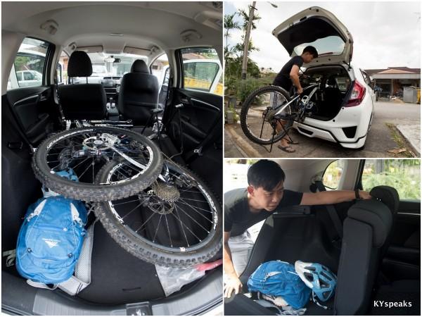 packing up my mountain bike in Honda Jazz