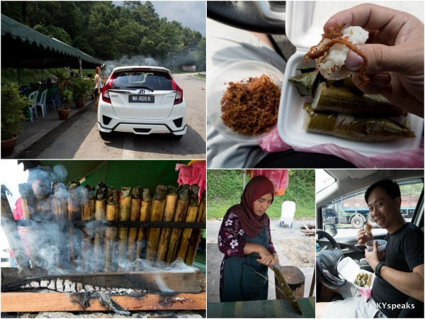 first pit stop - lemang stalls by Karak Highway (before Genting exit)