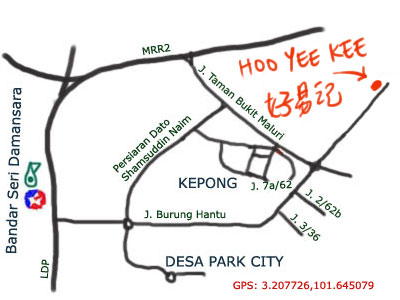 map to Hoo Yee Kee at Kepong