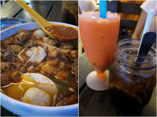 prawn mee with pork, bubble tea