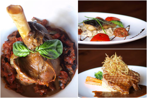 lamb shank, grilled fish, tenderloin