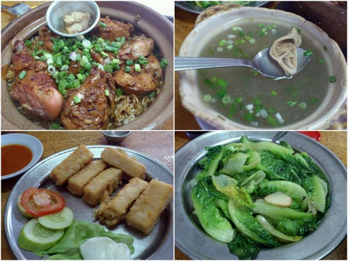 claypot chicken rice, pork tripe soup, seafood tofu, vegetable