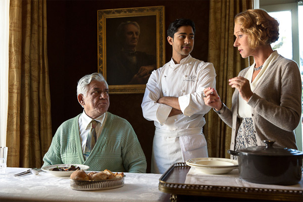 hundred foot journey with Om Puri, Manish Dayal, and Helen Mirren