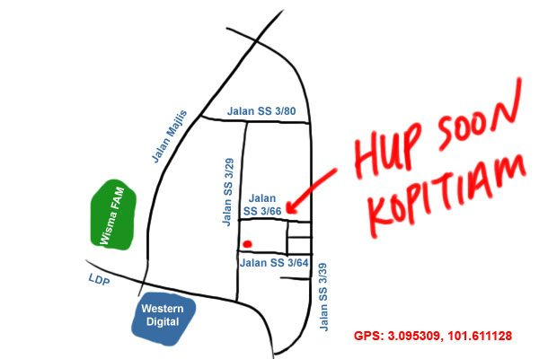 map to hup soon kopitiam, SS3