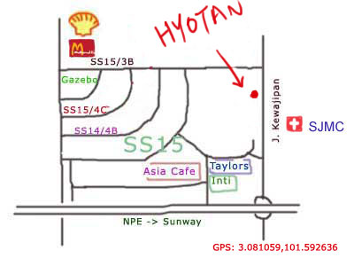map to Hyotan japanese restaurant