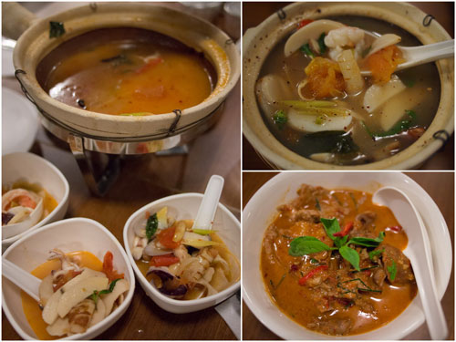 thick soup and clear soup seafood tomyam, red curry with pork