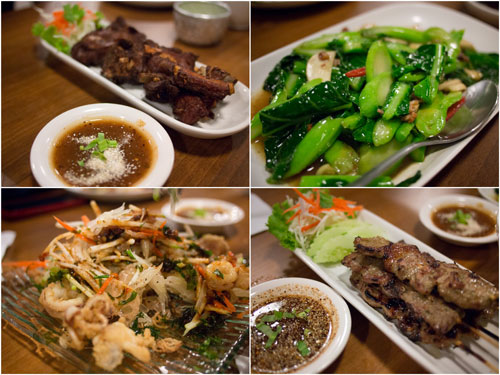 deep fried pork ribs, stir fry kailan, pomelo salad, grilled pork skewers