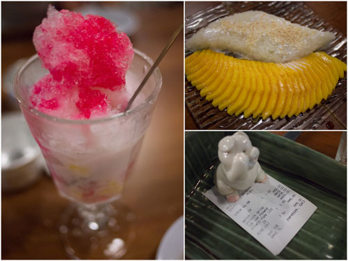 red ruby waterchestnuts crushed ice, mango with sticky rice