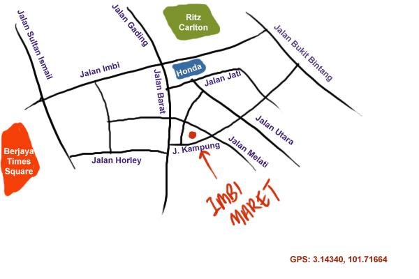 map to Imbi Market (Pasar Baru Bukit Bintang)
