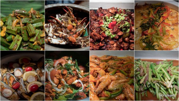 okra, ketam berlado, kung pao chicken, gratin potato with trio cheese,  sautee mussel,  chicken tandoori, har lok prawn, asparagus