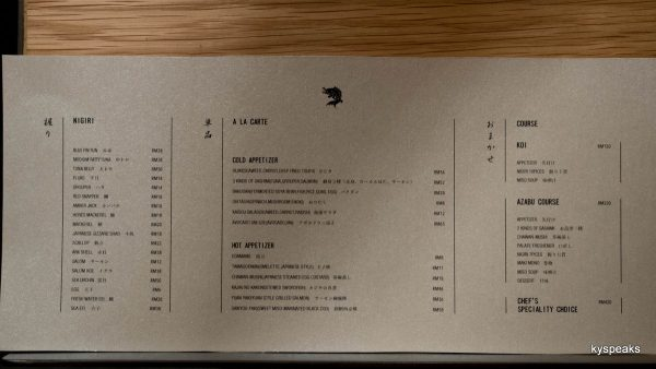 the menu at Sushi Azabu KL
