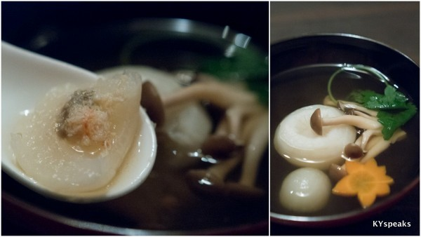 braised Japanese turnip with kani miso served clear soup