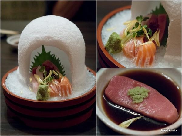 premium sashimi (chutoro, salmon toro, kanpachi toro)