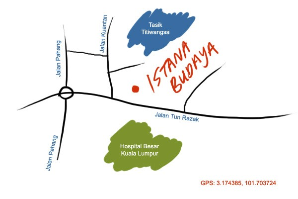 map to Istana Budaya, KL