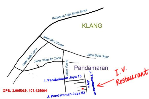 map to IV Restaurant, Klang