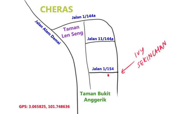 map to Ivy Sekinchan fish noodle, Cheras