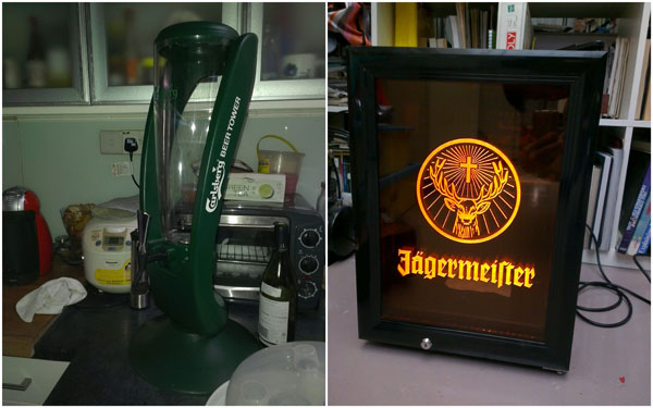the loot - a Carlsberg beer tower and a Jagermeister mini fridge