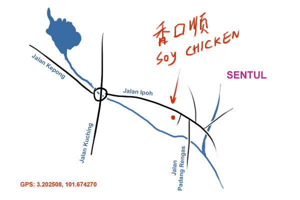 map to Jalan Ipoh soya sauce chicken rice