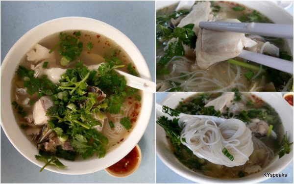 "fish head noodle with ""soong fish"""