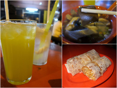 drinks, coagulated pork blood, popiah