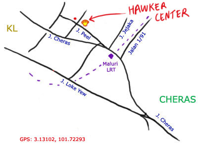 map to Jalan Peel hawker centre