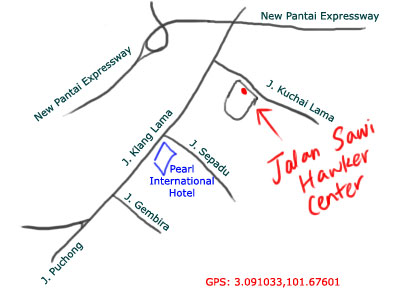 map to Jalan Sawi Hawker Centre