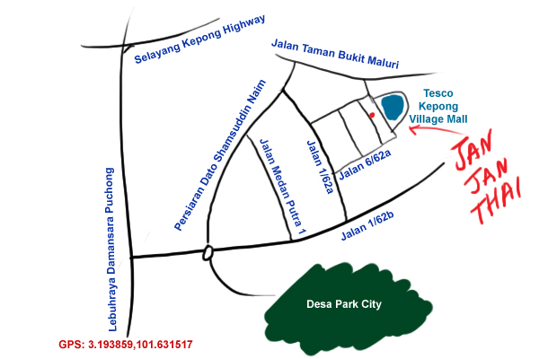 map to Jan Jan Thai restaurant, Kepong