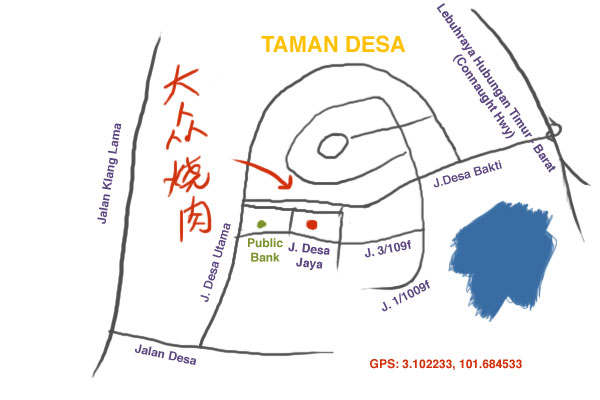 map to Japanese BBQ at Taman Desa